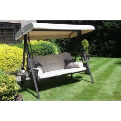 Three Seater Deluxe Patio Swing Chair With Side Shelves. Powder Coated.