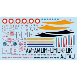 Fouga Magister-Ecole de l'air aerobatic team l Armee de'l air 1/48 Scale Decals