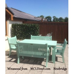 Winawood Garden Dining Set- Duck Egg Green- One Dining Table- 2 X Armchairs - 2X Two Seater Benches