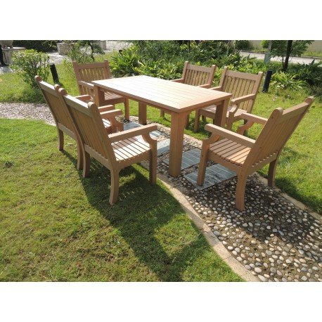 Winawood Dining Set - Teak 1 Table + 6 Armchairs Teak.