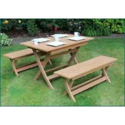 Brown Winawood Castlebay Dining Set Teak Color Table + 2 Benches.