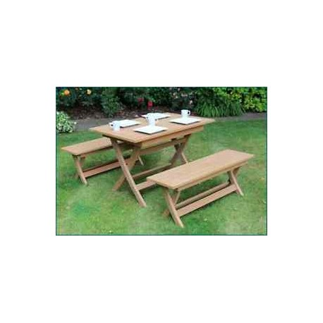 Castlebay Winawood Dining Set Teak Color Table + 2 Benches.