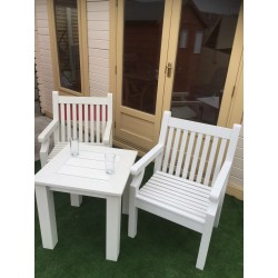 Winawood Tea Table Set with 2 Armchairs Off White