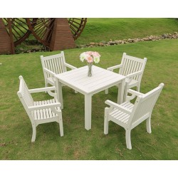 Square Dining Table  Set (983x983x760)  plus  4 Armchairs Off White