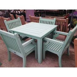 Winawood Set Of A Square Dining Table Set (983X983X760) Plus 4 Armchairs Duck Egg Green Colour