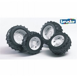Twin Tyres White For Bruder Tractors