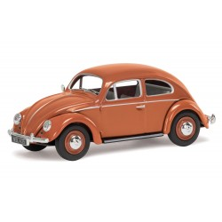 VW Beetle, Coral Oval Rear Window Saloon Diecast 1/43 Scale