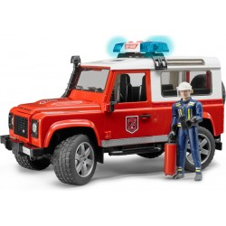 Bruder Land Rover Defender Station Wagon Fire Department Vehicle With Fireman With Fire-Extinguisher