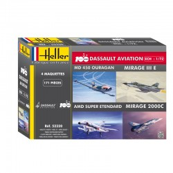 Dassault Aviation 100 Years 1/72 Scales (Md 450 Ouragan/Mirage Iii E/Amd Super Etendard/Mirage 2000C) Kit Heller 52320