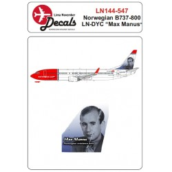 Boeing B737-800 (Norwegian LN-DYC 'Max Manus' tail) 1/144 Scale Decals