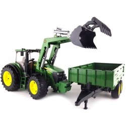Bruder John Deere 7930 With Frontloader And Tandemaxle Tipping Trailer