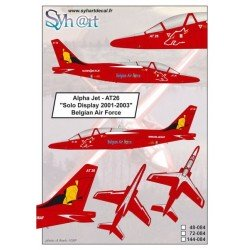 """Alpha Jet AT26 """"Solo Display 2001-2003"""" Belgian Air Force (Syhart Decal 48-084) 1/48"""