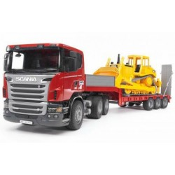 Bruder Scania R Series Low Loader With Cat Bulldozer