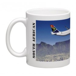 Mug South African Airways (SAA) Airbus A340 over Table Mountain (Megamok MOK-SAA)