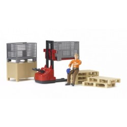 Logistics Set Figures And Electic Pallet Truck