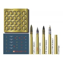 "US 3"" Brass Ammo Set 1/35 Scale Kit"