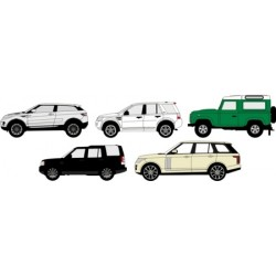 1/76 SCALE DIECAST 5 PIECE LAND ROVER SET