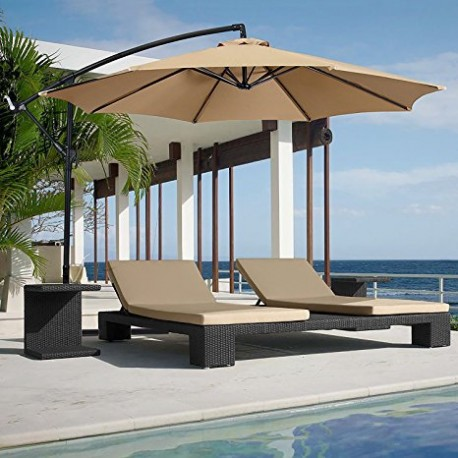 Large 10' Complete Freestanding Outdoor Patio Parasol Umbrella (Beige Color)