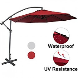 Large Deluxe 10' Complete Freestanding Outdoor Patio Umbrella (Deep Red Color)