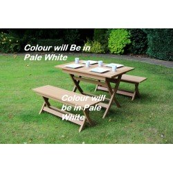 White Winawood Castlebay Garden Dining Table 4 Seater Dining Set- Off White Colour Table + 2 Benches.
