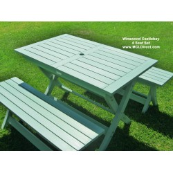 Castlebay Winawood 4 Seater Dining Set-  Duck Egg Green Colour Table + 2 Benches.