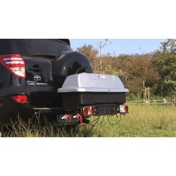 WI-BOX 160 LTS Rear Car Box  FOR TOW BAR.  Includes a Free Bike Carrier for 2 Bikes.  Menabo