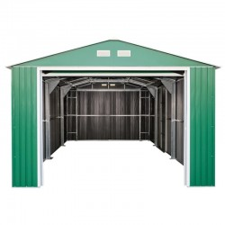 Emerald Olympian Car Garage 12X20 Green. Up And Over Door + Side Door.