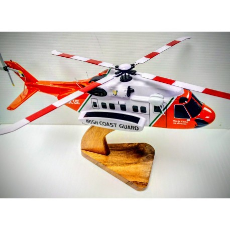 S-92 Coast Guard SAR Helicopter . Hand Carved & Painted in Wood