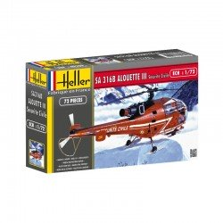 Alouette Iii Civile Mountain Rescue 1/72 Kit Heller 80289