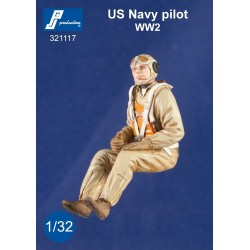 Us Navy Pilot Seated In A/C (Ww2) 1/32 Resin.Needs Assembly & Painting.