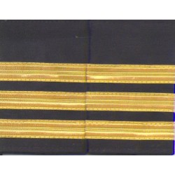 Set Of Two 3 Gold Bar Epaulettes With Black Background. ( 13 Mm Bar)