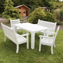 Winawood Off White Dining Set - 1 Large Dining Table + 2 Armchairs + 2 Two Seater Benches In White