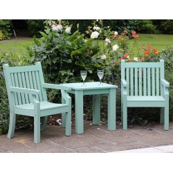 Winawood Tea Table Set With 2 Armchairs Duck Egg Green