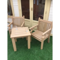 Winawood Tea Table Set With 2 Armchairs Teak Colour