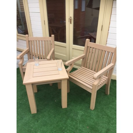 Winawood Side Table Set With 2 Armchairs Teak Colour