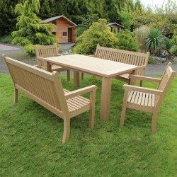 Winawood Dining Set - 1 Table + 2 Armchairs Teak + 2 Two Seater Benches
