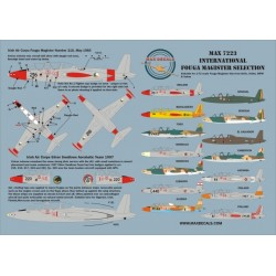 Max7223 International Fouga Magister Selection 1/72 Scale Decal Sheet Instructions