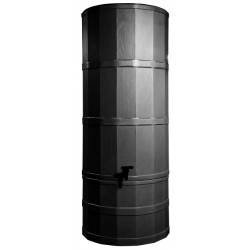 Water Butt/ 220 Litre Black Including Base And Rainwater Diverter