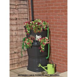 Mcl Rainwater Terrace All Black 2 Tier Planter 134Litres