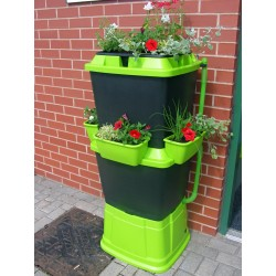 Mcl Rainwater Terrace All Black And Green 2 Tier Planter 134 Litres