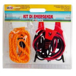 Oto41065 Holiday Car Kit Booster Cables , Tow Rope, Scraper And Gloves