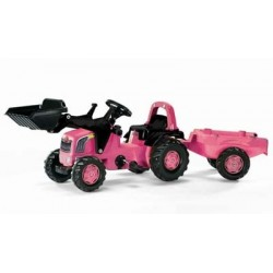Rolly Kid Pink Tractor With Trailer