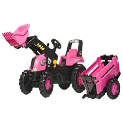 Rolly Pink Junior Tractor, Loader And Farm Trailer 3Yrs-8Yrs