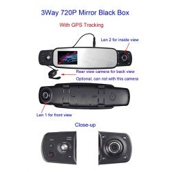 Black Box 3 Way Camera System To Clip On Mirror