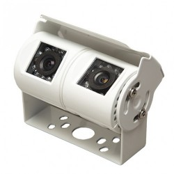 White Camera Dual Twin/Rca + Dc - 2 Reversing Cameras For Commercial Vans Cars Trucks And Buses