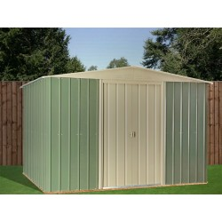 10X8 Ashlee Ciaran Mist Green Metal Apex Shed