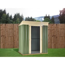 8X4 Ashlee Ciara Green Metal Pent Shed. Mist Green