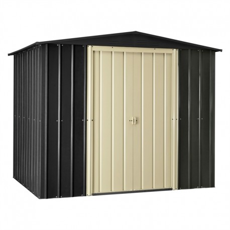 8X6 Apex Extra Tall Metal Shed Slate Grey / Cream