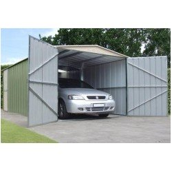 Oldfields Car Garage Shed 10X19 Metal Barn Door + Side Door