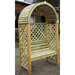 Wood Helios Garden Fixed Seat Arbour Real Pressure Treated Timber- Needs Painting. Shop Soiled. One Available